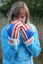 Angry Woman Wearing Boxing Gloves Stock Photography