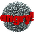 Angry word exclamation points mad emotion fury the on a ball of to illustrate feelings or of Royalty Free Stock Photo