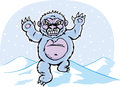 Angry yeti drawing of a snowman or Stock Image