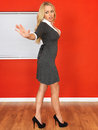 Angry Young Business Woman Holding Out Hand Royalty Free Stock Photo