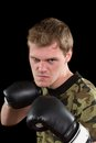 Angry young man in boxing gloves isolated Stock Photos