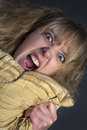 Angry young woman an hysterical Royalty Free Stock Photos