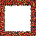 Angular frame of juicy ripe strawberries blueberries raspberries and blackberries on a white background space for text on the left Stock Image