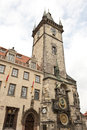 Angular Prague Astronomical Clock Stock Photography