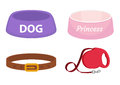 Animal accessories supplies set of icons, flat, cartoon style. Collection of items for dog care with bowl, leash, collar