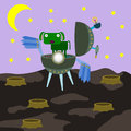 An animal alien a green dog just landed on a planet Royalty Free Stock Images