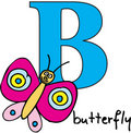 Animal alphabet B (butterfly) Royalty Free Stock Image