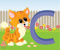 Animal alphabet c illustration of letter with a cute cat playing on grass Royalty Free Stock Photos