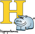 Animal alphabet H (hippo) Royalty Free Stock Photo