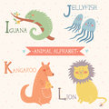 Animal Alphabet. Iguana, Jellyfish, Kangaroo, Lion. Part 3 Royalty Free Stock Photo