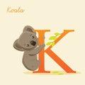 Animal alphabet with koala