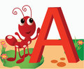 Animal alphabet a latter illustration Royalty Free Stock Photo