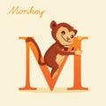 Animal alphabet with monkey