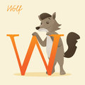 Animal alphabet with wolf vector illustration Royalty Free Stock Image