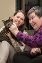 Animal assisted therapeutic for a disability develop woman Royalty Free Stock Photo