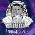 Animal astronaut Brithish noble cat Male wearing space suit Galaxy space background with stars and nebula Watercolor