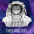 Animal astronaut Bulldog wearing space suit Galaxy space background with stars and nebula Watercolor galaxy background