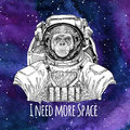 Animal astronaut Chimpanzee Monkey wearing space suit Galaxy space background with stars and nebula Watercolor galaxy