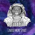 Animal astronaut Gorilla, monkey, ape Frightful animal wearing space suit Galaxy space background with stars and nebula