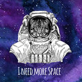 Animal astronaut Wild cat Fishing cat wearing space suit Galaxy space background with stars and nebula Watercolor galaxy