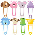 Animal Baby Safety Pins Set 2 Isolated Royalty Free Stock Photo