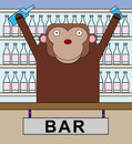 Animal bar tender illustration of a gorilla with a bartender s job Stock Photos