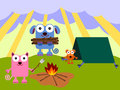 Animal camp a cartoon illustration of a dog cat and a mouse camping outdoors Royalty Free Stock Photography