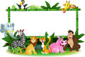 Animal cartoon with blank sign Stock Images