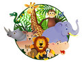Animal cartoon in the circle Royalty Free Stock Photography