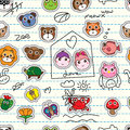 Animal cartoon sticker add on seamless pattern Royalty Free Stock Photo