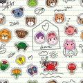 Animal cartoon sticker add on seamless pattern