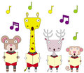 Animal choir illustration of animals singing together as a Royalty Free Stock Photo