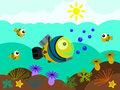 Animal diver illustration of a fish wearing a divers suit underwater Royalty Free Stock Photos