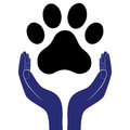 Animal dog paw in people hand, human help encourage vector illustratration.