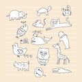 Animal doodle child drawn playful children style minimal artistic of animals Royalty Free Stock Images