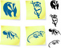 Animal drawings on post it notes Royalty Free Stock Photography