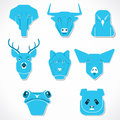 Animal face icon illustration different background Stock Photo