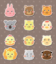 Animal face stickers Stock Images