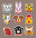 Animal face stickers Royalty Free Stock Images