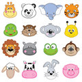 Animal faces icons farm animals dangerous animals mammals Royalty Free Stock Photos