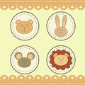 Animal faces in round medals cute Royalty Free Stock Image