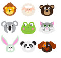 Animal faces set cartoon isolated on white background Royalty Free Stock Images
