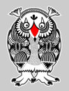 Animal fantasy personage owl original modern cute ornate doodle monster ukrainian traditional style Royalty Free Stock Images