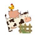 Animal farm in field