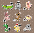 Animal football stickers/soccer ball stickers Royalty Free Stock Photography