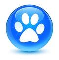 Animal footprint icon glassy cyan blue round button