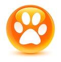 Animal footprint icon glassy orange round button