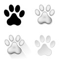 Animal footprints set of icons with on white background illustration Stock Photos