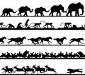 Animal foreground silhouettes set of editable vector silhouette foregrounds with all figures as separate objects Stock Photos