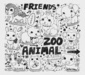 Animal friend doodle element cartoon vector illustration Stock Photography